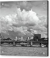 The Shard And Thames View Black And White Version Acrylic Print