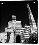 the shard building towering over local buildings including guys hospital in southwark London England Acrylic Print