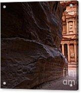 The Siq And Treasury At Petra Acrylic Print
