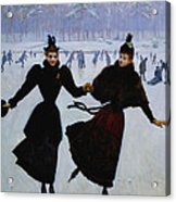 The Skaters Acrylic Print by Jean Beraud