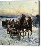 The Sleigh Ride Acrylic Print by Alfred von Wierusz Kowalski