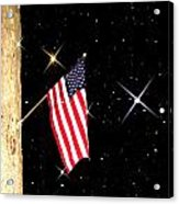 The Snow The Moon And The Flag Acrylic Print by Sharon Costa