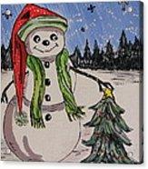 The Snowman's Tree Acrylic Print