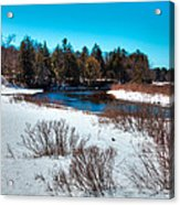 The Snowy Moose River - Old Forge New York Acrylic Print