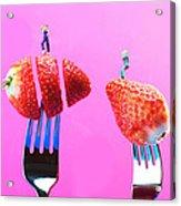 The Star On Strawberry Miniature Art Acrylic Print