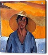 The Straw Hat - After Nikolaos Lytras Acrylic Print by Kostas Koutsoukanidis