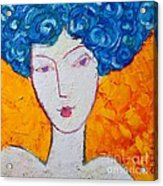 The Strength Of Grace Expressionist Girl Portrait Acrylic Print by Ana Maria Edulescu