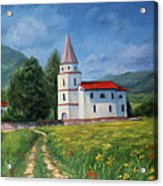 The Sunny Road Landscape With Field And Church Acrylic Print