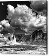 The Superstitions - Black And White  Acrylic Print