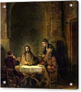 The Supper At Emmaus, 1648 Oil On Panel Acrylic Print