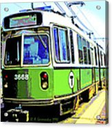 The T Trolley Car Boston Massachusetts 1990 Poster Acrylic Print