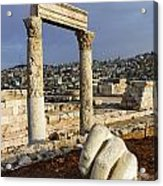 The Temple Of Hercules And Sculpture Of A Hand In The Citadel Amman Jordan Acrylic Print