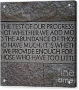 The Test Of Our Progress Acrylic Print