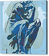 The Thinker - Rodin Stylized Pop Art Poster Acrylic Print by Kim Wang