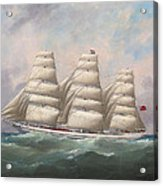 The Three-master Hahnemann In Full Sail Off A Headland Acrylic Print