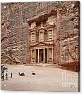 the treasury Nabataean ancient town Petra Acrylic Print by Juergen Ritterbach