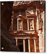 The Treasury Seen From From The Siq Petra Jordan Acrylic Print by Robert Preston