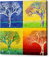 The Tree 4 Seasons - Painterly - Abstract - Fractal Art Acrylic Print by Andee Design