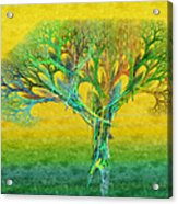 The Tree In Summer At Sunrise - Painterly - Abstract - Fractal Art Acrylic Print