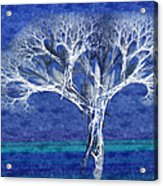 The Tree In Winter At Dusk - Painterly - Abstract - Fractal Art Acrylic Print