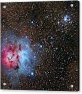 The Trifid Nebula And Messier 21 Acrylic Print