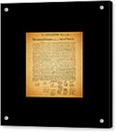 The United States Declaration Of Independence - Square Black Border Acrylic Print by Wingsdomain Art and Photography