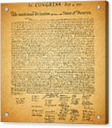 The United States Declaration Of Independence - Square Acrylic Print