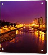 The Vardar River In Skopje At Night. Acrylic Print by Slavica Koceva