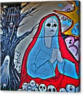 The Virgin Skeleton Adoring Acrylic Print by Andres Leon