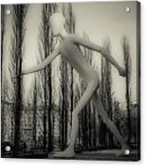 The Walking Man - Bw Acrylic Print by Hannes Cmarits