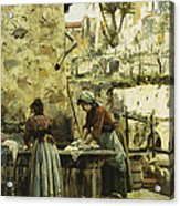The Washerwomen Acrylic Print by Peder Monsted