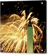 The Washington Monument And Fireworks Acrylic Print