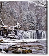The Waterfall Near Valley Green In The Snow Acrylic Print