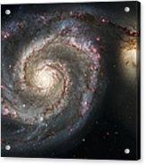 The Whirlpool Galaxy M51 And Companion Acrylic Print by Adam Romanowicz