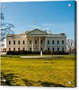 The White House In Washington Dc With Beautiful Blue Sky Acrylic Print