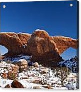 The Windows In Snow Arches National Park Utah Acrylic Print