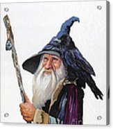 The Wizard And The Raven Acrylic Print by J W Baker