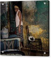 The Woman & The Cat Acrylic Print