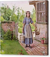 The Young Milkmaid Acrylic Print by George Goodwin Kilburne