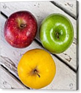 Thee Apples On A Table Acrylic Print