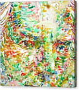 Thomas Bernhard Watercolor Portrait Acrylic Print