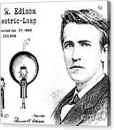 1880 Thomas Edison Electric Lamp Patent Art 2 Acrylic Print