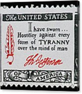 Thomas Jefferson American Credo Vintage Postage Stamp Print Acrylic Print