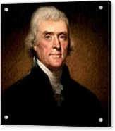 Thomas Jefferson By Rembrandt Peale Acrylic Print by Bill Cannon