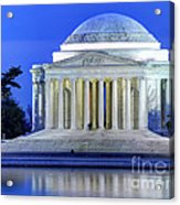 Thomas Jefferson Memorial At Night Reflected In Tidal Basin Acrylic Print