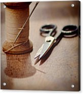 Thread And Scissors Acrylic Print