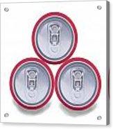 Three Aluminum Drink Cans Shadow Acrylic Print