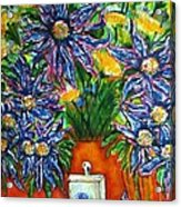 Blue Flowers Yellow And A Perfume Bottle Acrylic Print