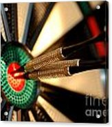 Three Arrows In The Centre Of A Dart Board Acrylic Print