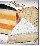 Three Cheese Wedges Distressed Text Acrylic Print